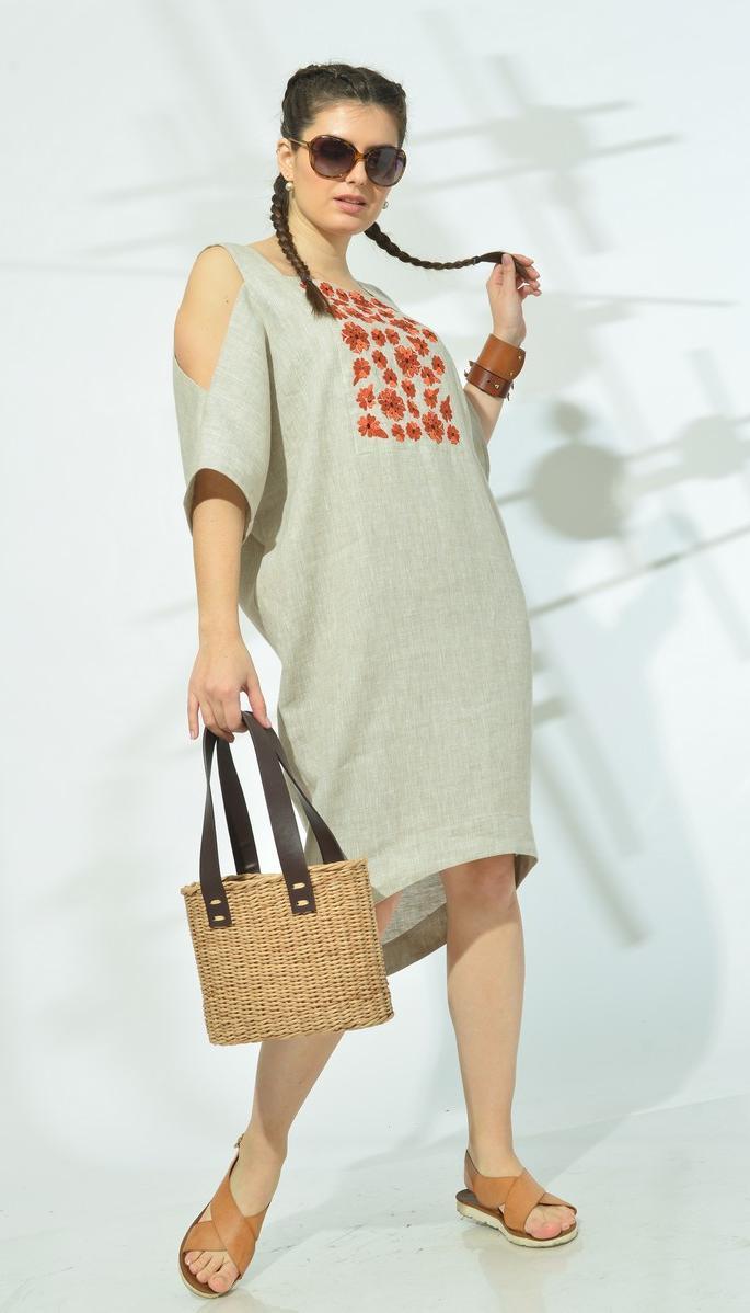 Платье Mali-419-026 белорусский трикотаж, натуральный, 48