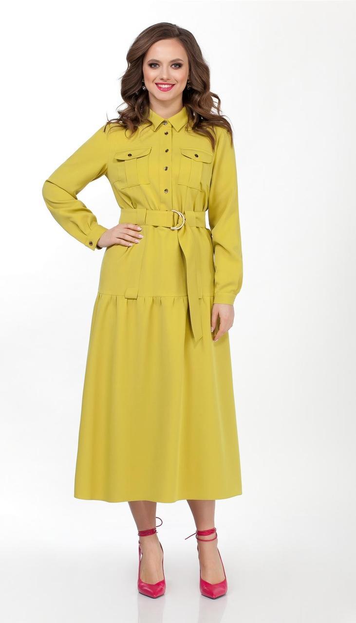 Платье TEZA-2357 белорусский трикотаж, желтый, 42