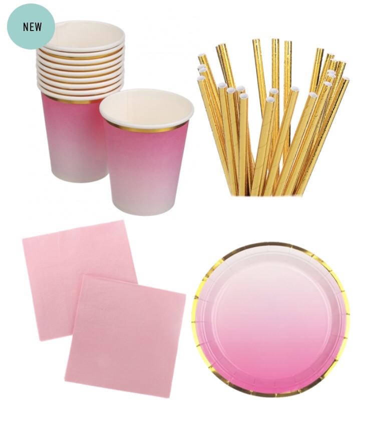 """Набір паперової посуду - тарілочки, стаканчики,трубочки і серветки """"Pink ombre"""" (40 шт.)"""