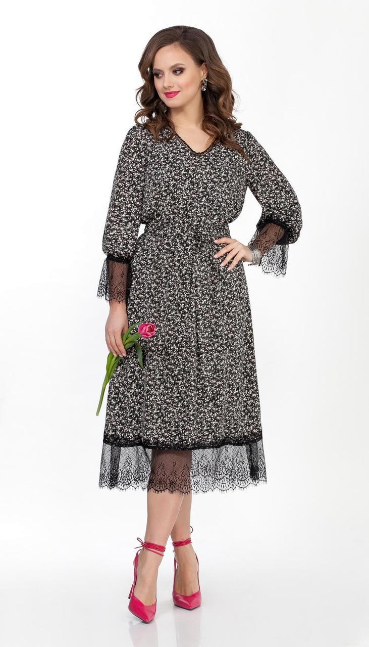 Платье TEZA-2362 белорусский трикотаж, рисунок на черном, 44