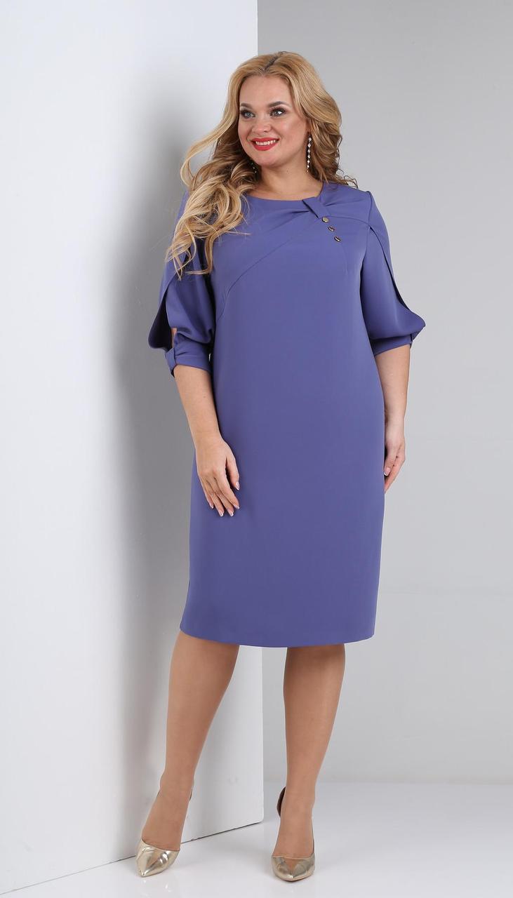 Платье Ксения стиль-1857 белорусский трикотаж, фиолетовый, 52