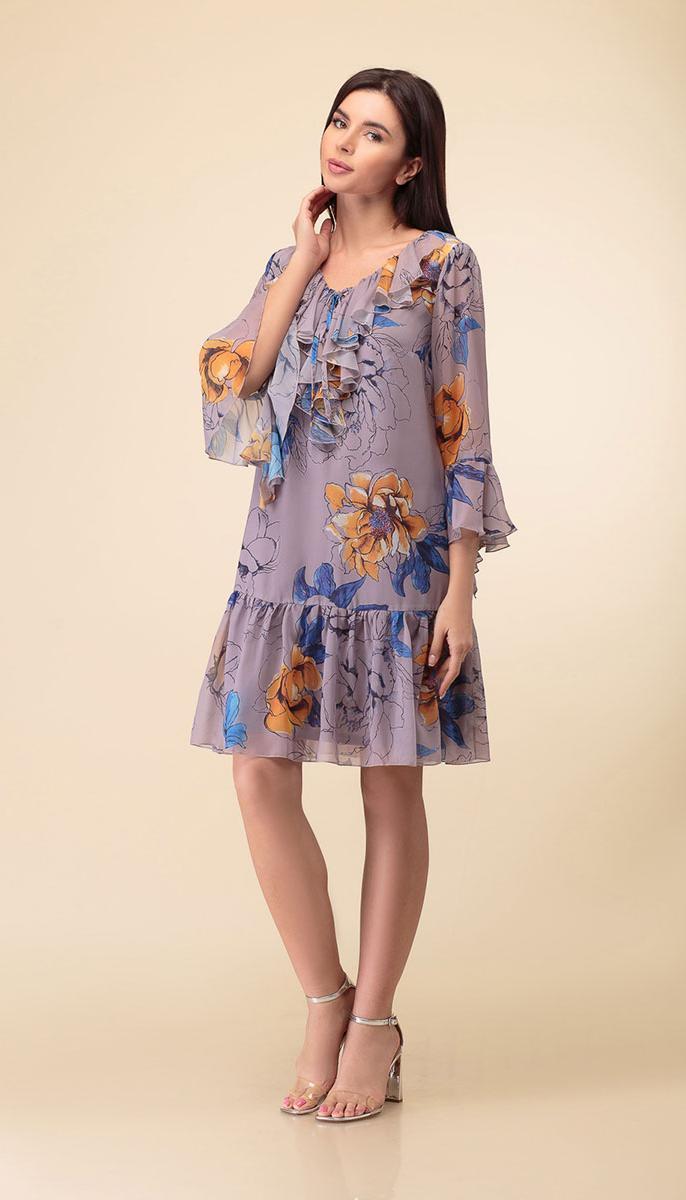 Платье Дали-3400/1 белорусский трикотаж, серый-цветы, 44