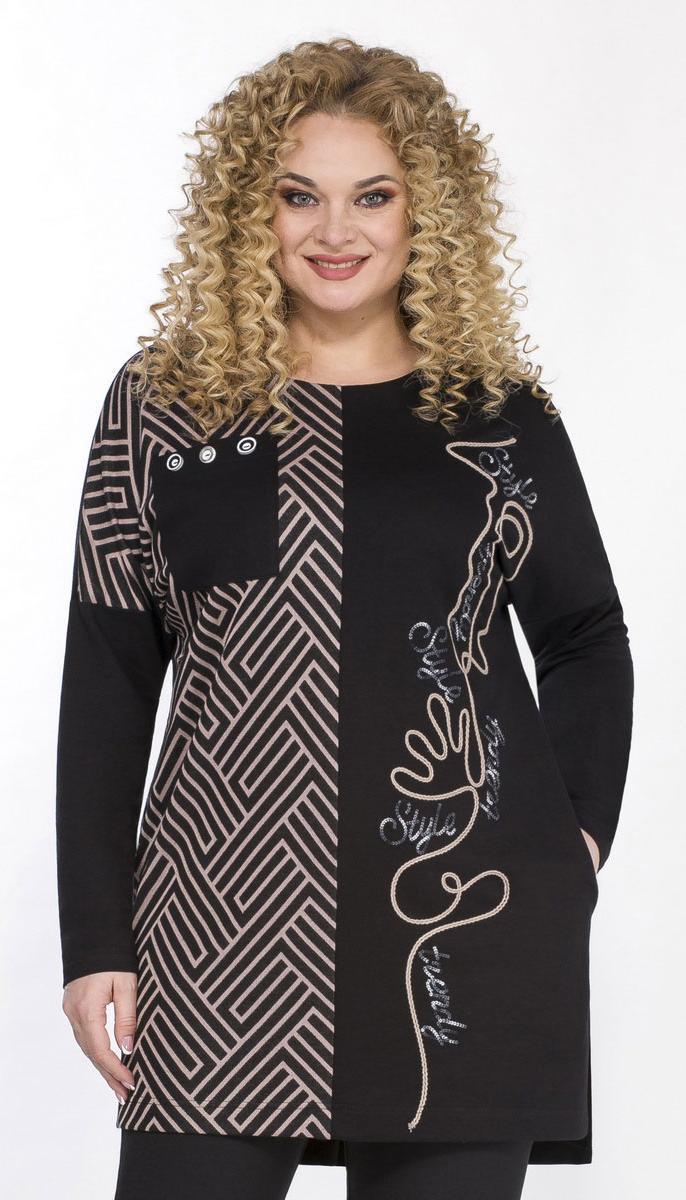 Блузка Теллура-Л-1535/1 белорусский трикотаж, черный+розовый, 56