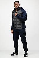 Спортивный костюм мужской теплый зимний c капюшоном темно-синий