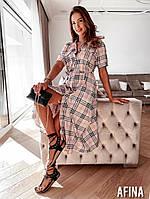 Женское стильное платье на пуговицах с коротким рукавом Батал, фото 1
