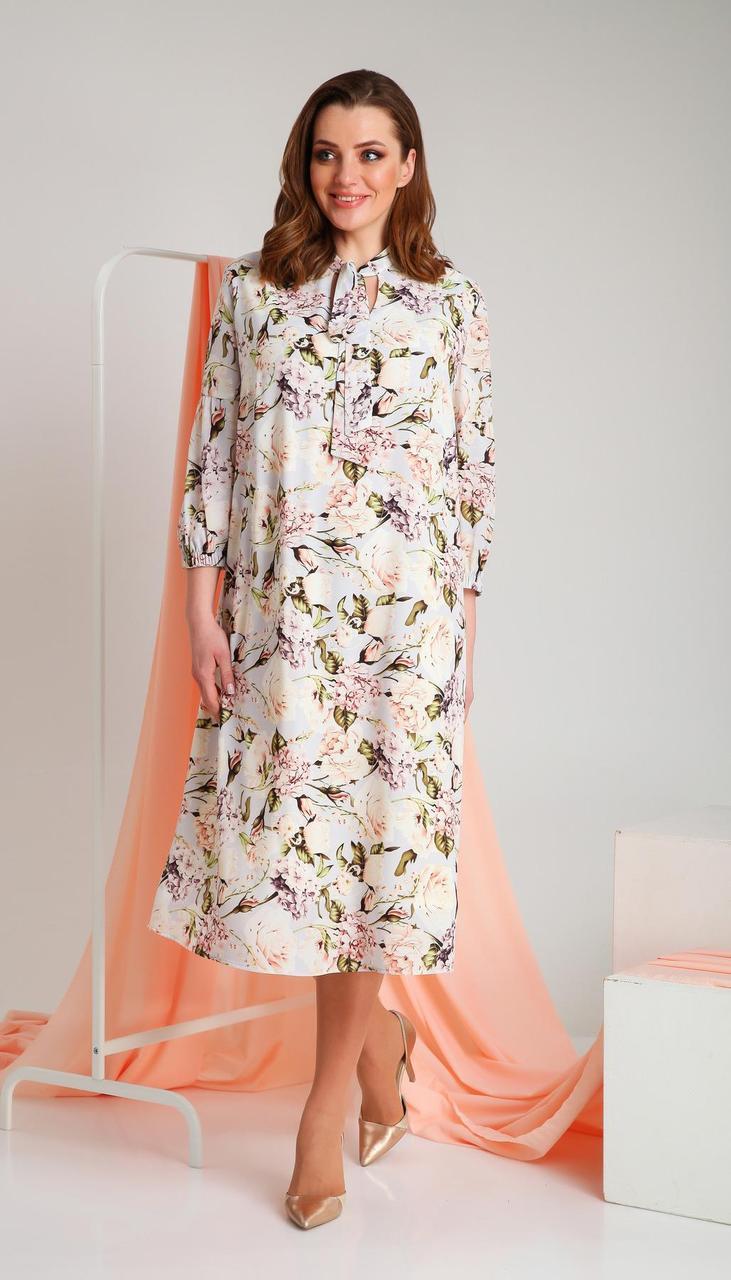 Сукня Ивелта плюс-1737 білоруський трикотаж, молочний, 58