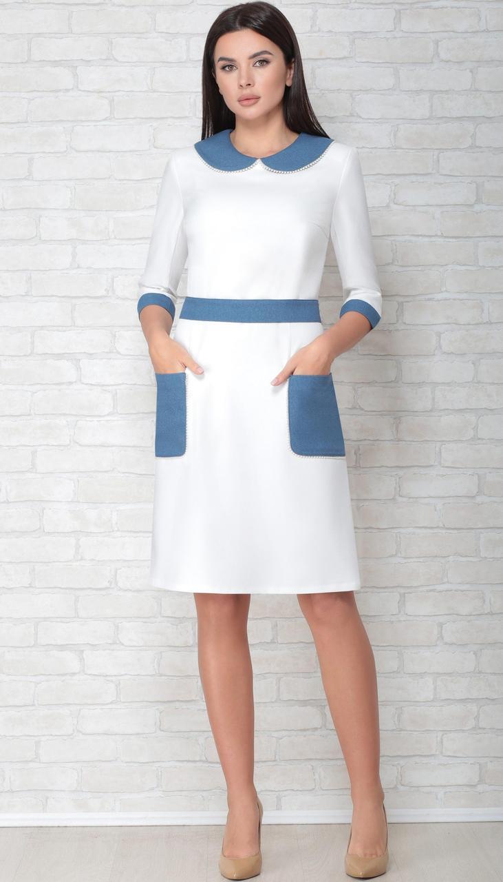 Платье LIMO-10046 белорусский трикотаж, молочный с голубым, 44