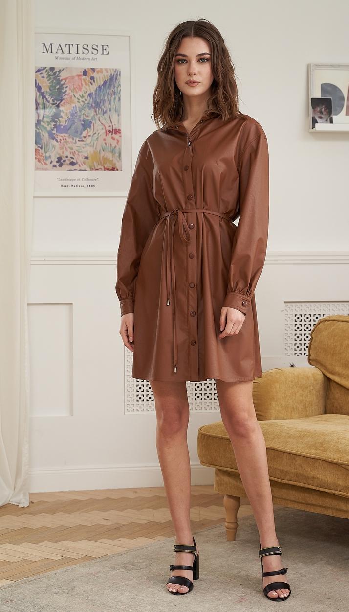 Платье Fantazia Mod-3908 белорусский трикотаж, коричневый, 42