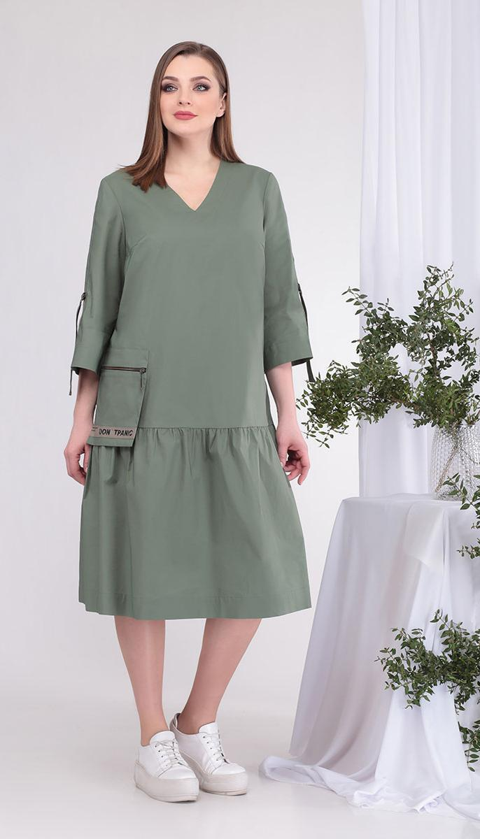 Платье КаринаДелюкс-В-383 белорусский трикотаж, хаки, 52