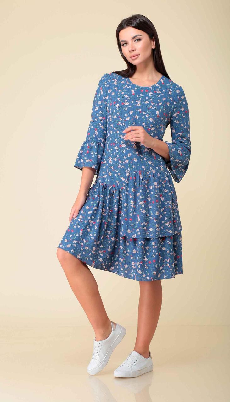 Платье Асолия-2522 белорусский трикотаж, голубой, 44