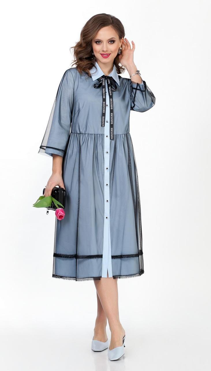 Платье TEZA-302/2 белорусский трикотаж, голубой, 48