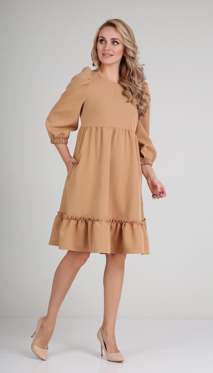 Платье Andrea Fashion-AF-116/2 белорусский трикотаж, миндаль, 42