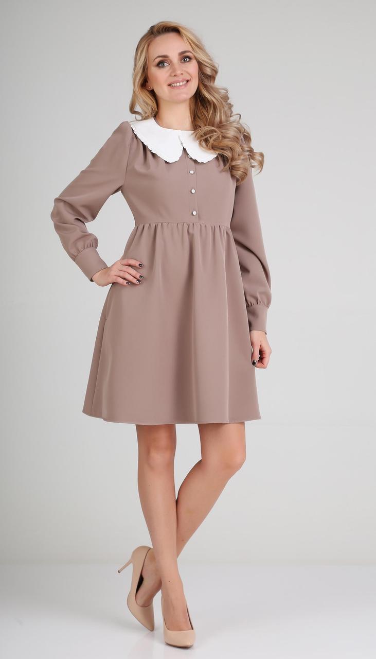 Сукня Andrea Fashion-AF-117-1 білоруський трикотаж, какао + білий комір, 42