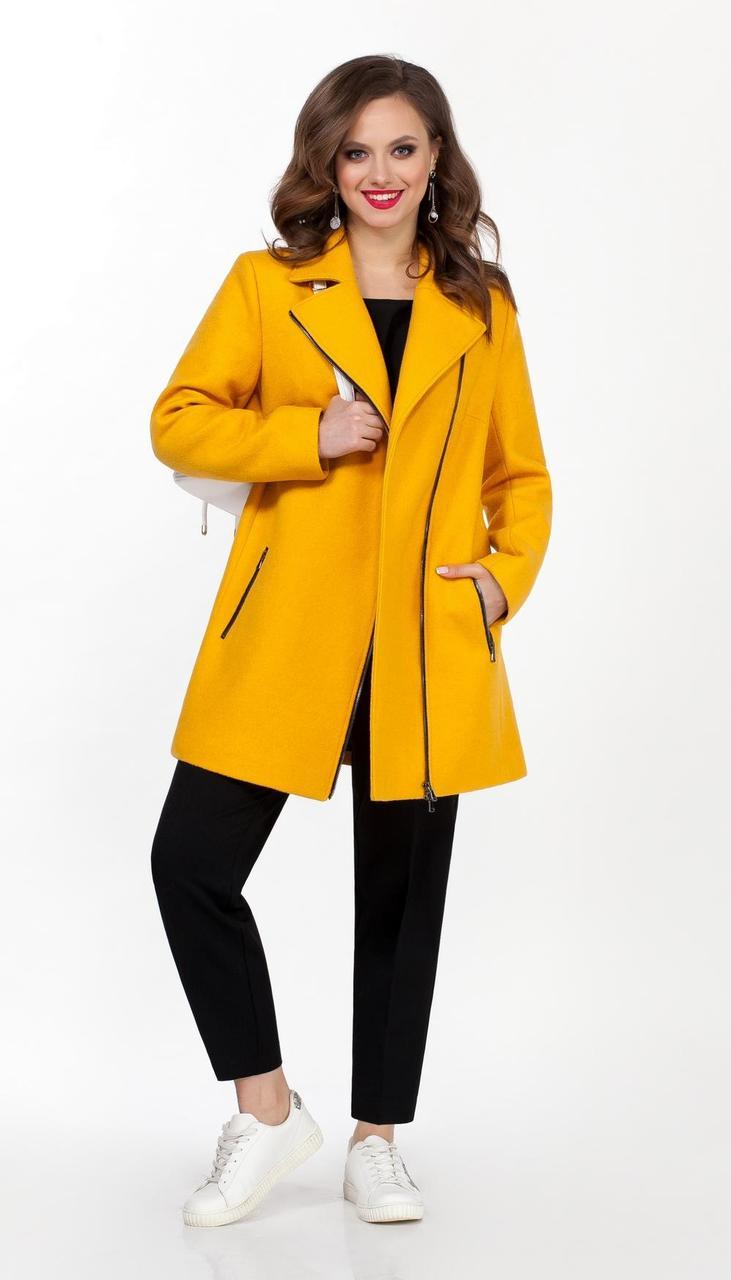 Пальто TEZA-1565/4 белорусский трикотаж, желтый, 48