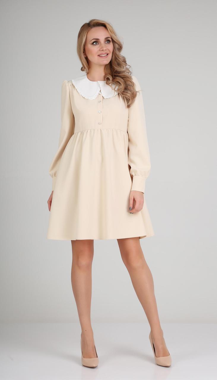 Сукня Andrea Fashion-AF-117-1/2 білоруський трикотаж, крем + білий комір, 42