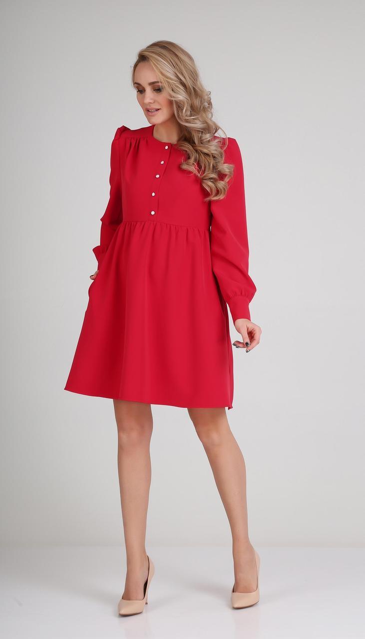Сукня Andrea Fashion-AF-117/1 білоруський трикотаж, червоний, 44