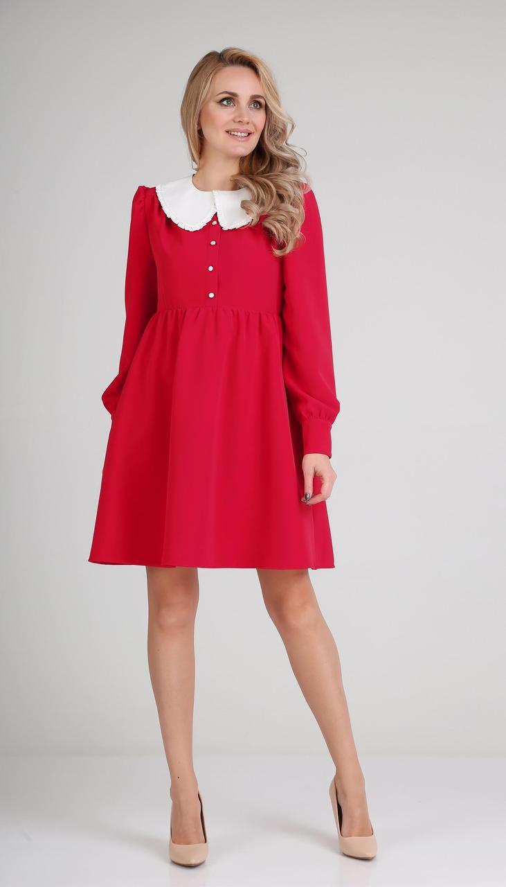 Платье Andrea Fashion-AF-117-1/1 белорусский трикотаж, красный + белый воротник, 44