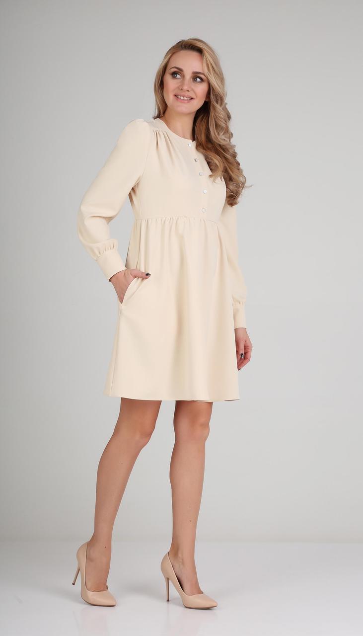 Платье Andrea Fashion-AF-117/2 белорусский трикотаж, крем, 42