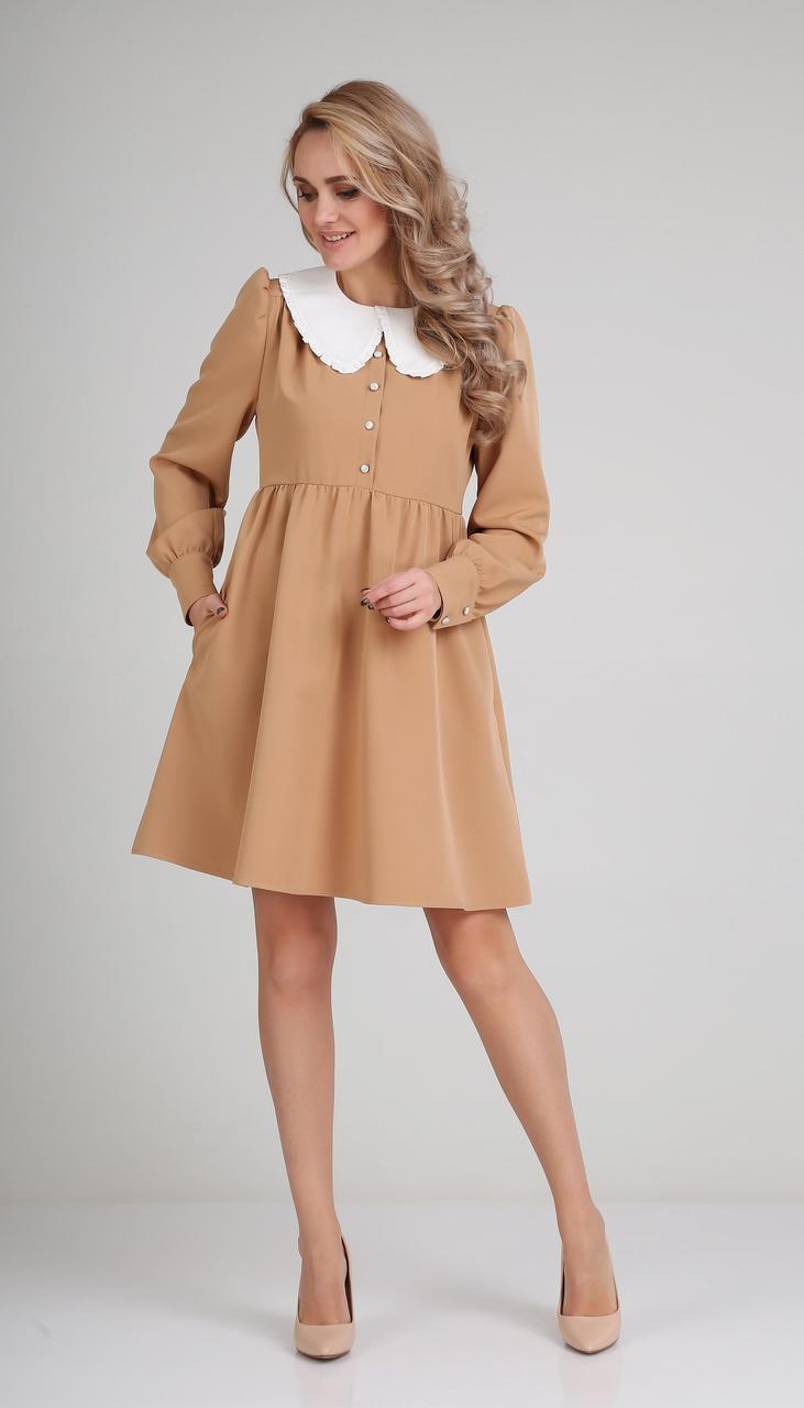 Платье Andrea Fashion-AF-117-1/3 белорусский трикотаж, миндаль + белый воротник, 42