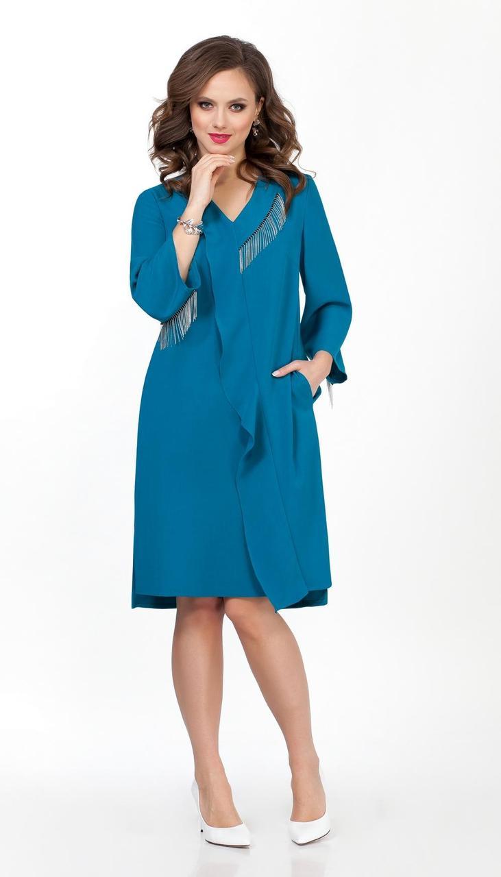 Платье TEZA-1836/3 белорусский трикотаж, бирюза, 48