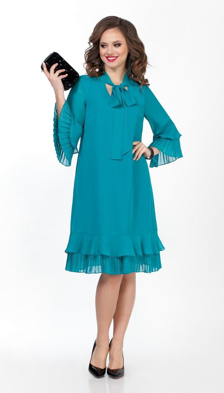 Платье TEZA-2019/1 белорусский трикотаж, бирюза, 44