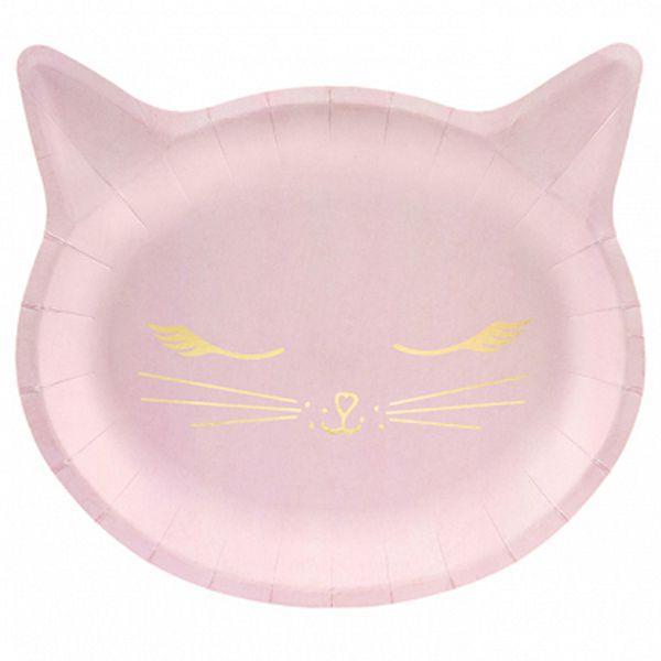 Тарелка Кошка розовая  22*20см бум 6шт
