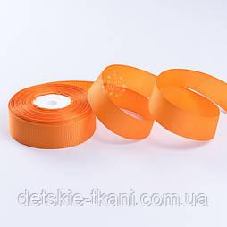 Стрічка репсова шириною 25 мм помаранчевого кольору, бобіна 18 метрів