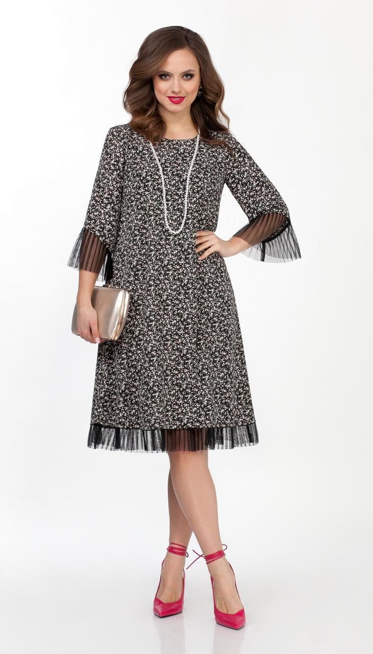 Платье TEZA-2030 белорусский трикотаж, рисунок на черном, 44