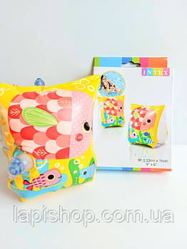 Детские надувные нарукавники Рыбки от 3 до 6лет размером 23х15см Intex 58652