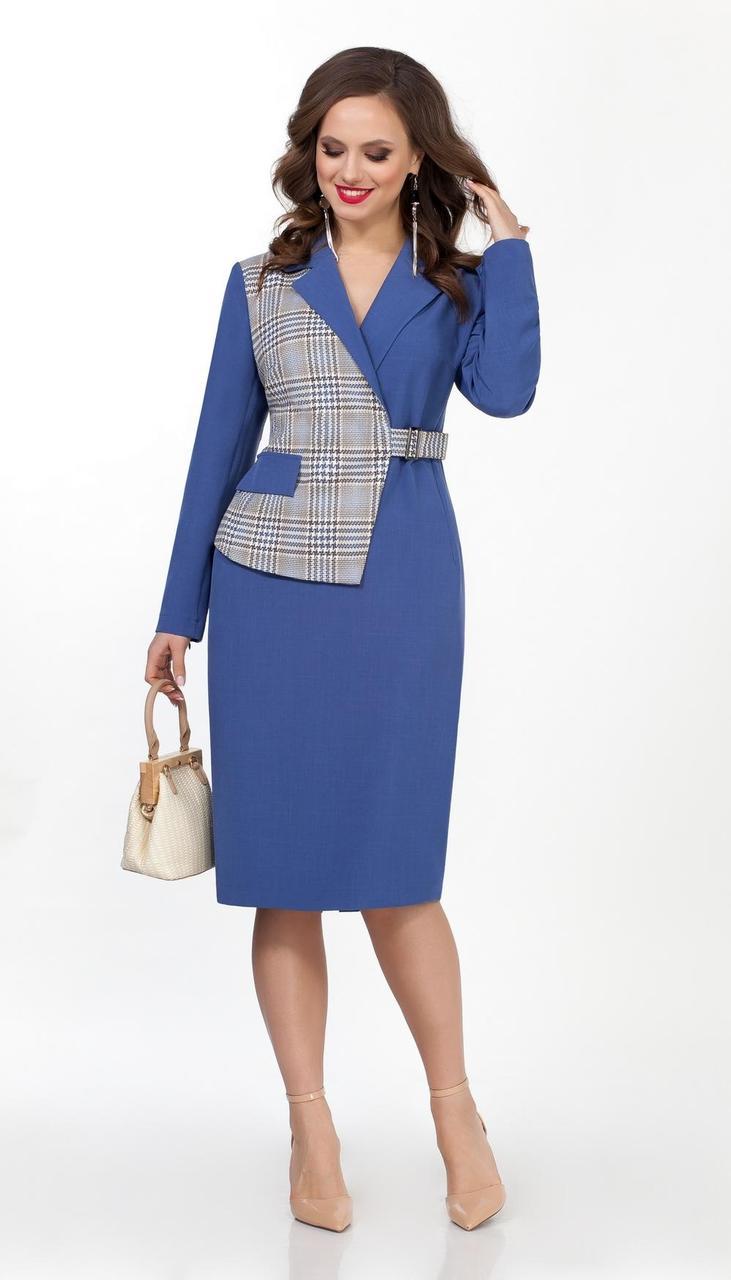 Платье TEZA-2041/2 белорусский трикотаж, синий + клетка, 44