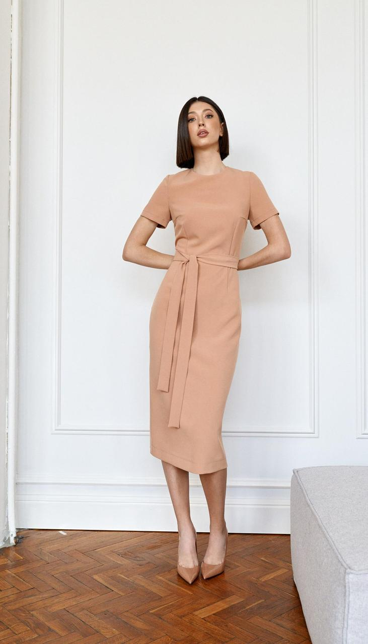 Платье Beauty-3752 белорусский трикотаж, бежевый, 42