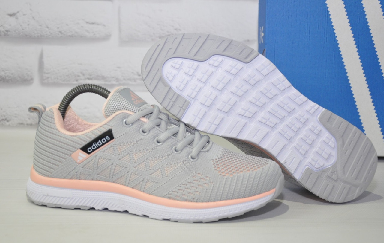 Кросівки жіночі легкі сітка в стилі Adidas grey pink