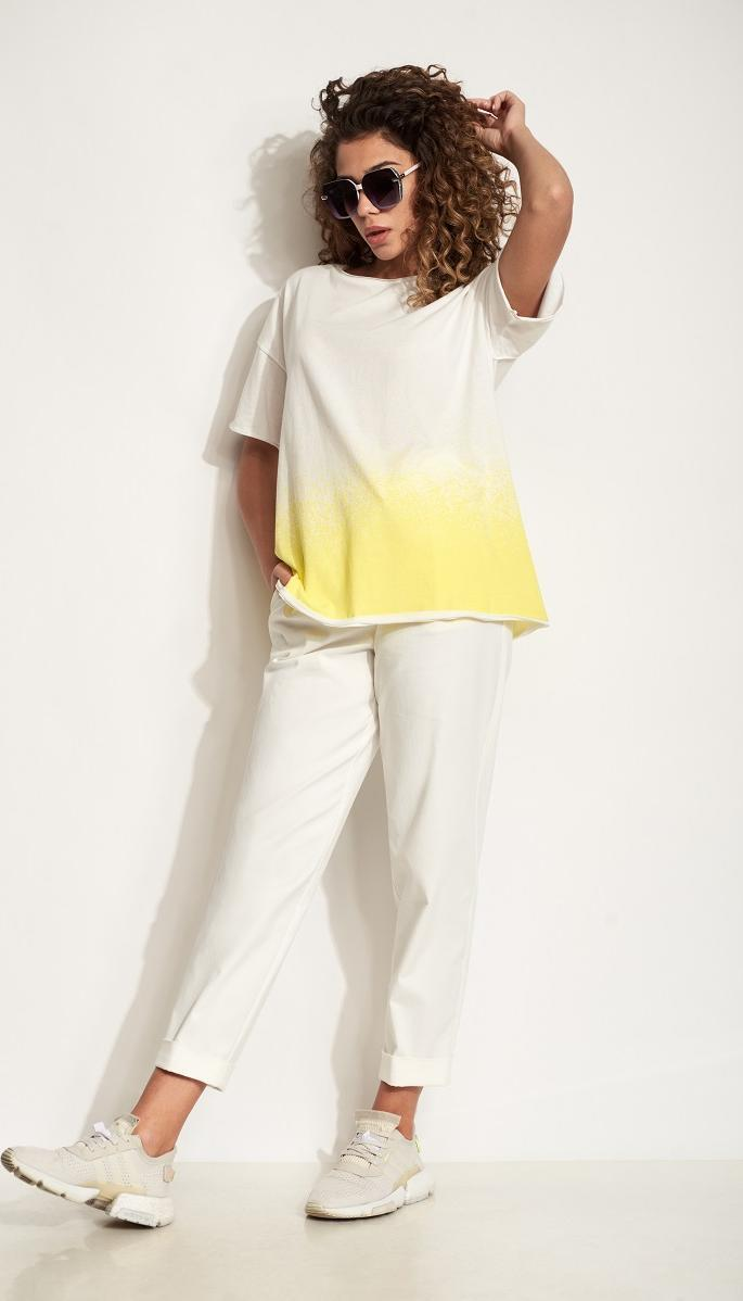 Блузка Сч@стье-7190-1 белорусский трикотаж, белый с желтым, 42