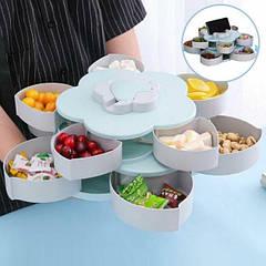 Менажница 2 Яруса, Candy Box, Тарелка - органайзер для закусок с подставкой для телефона 10 секций голубой