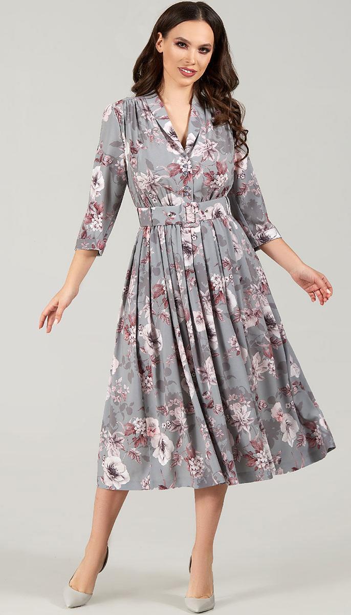 Платье TEFFI style-1425/7 белорусский трикотаж, графит, 44