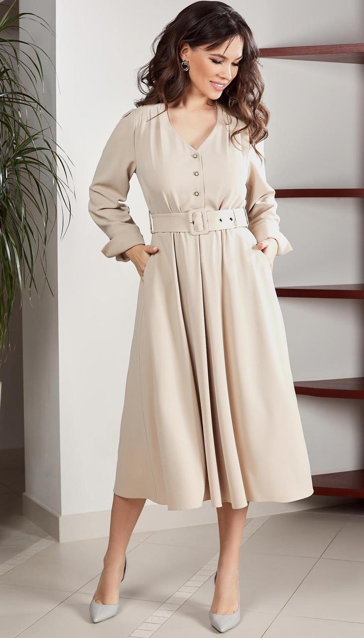 Платье TEFFI style-1537 белорусский трикотаж, кремовый, 48
