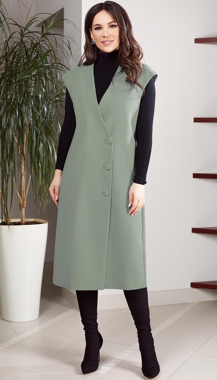 Платье TEFFI style-1523/9 белорусский трикотаж, олива, 50
