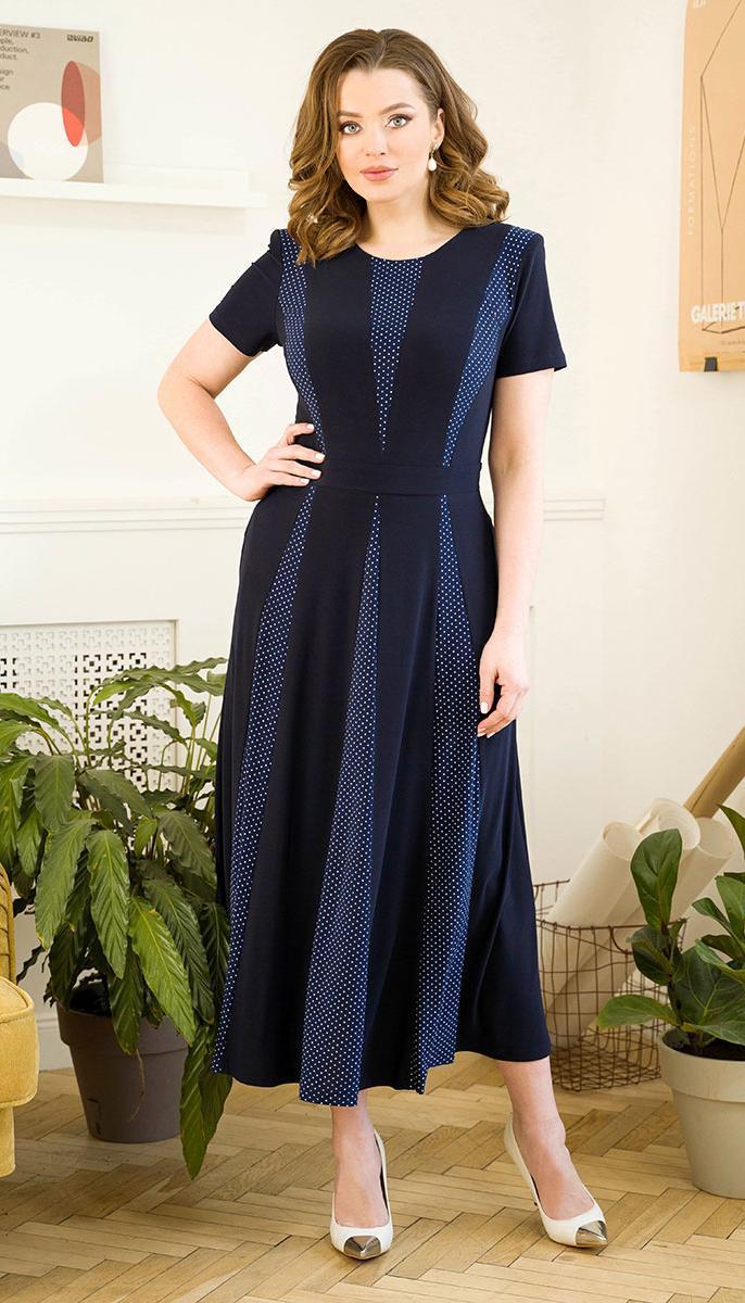 Платье Юрс-21-569-1 белорусский трикотаж, темно-синий + горошки, 50