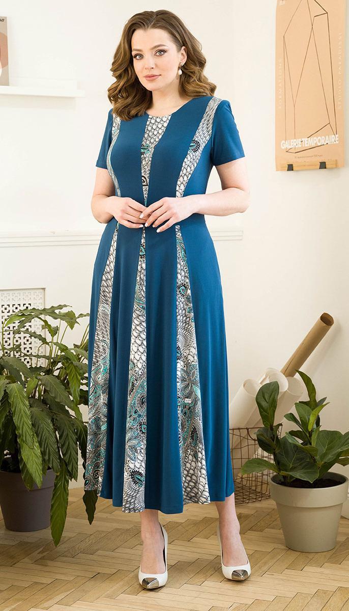 Сукня Юрс-21-569-2 білоруський трикотаж, темно-блакитний, 50