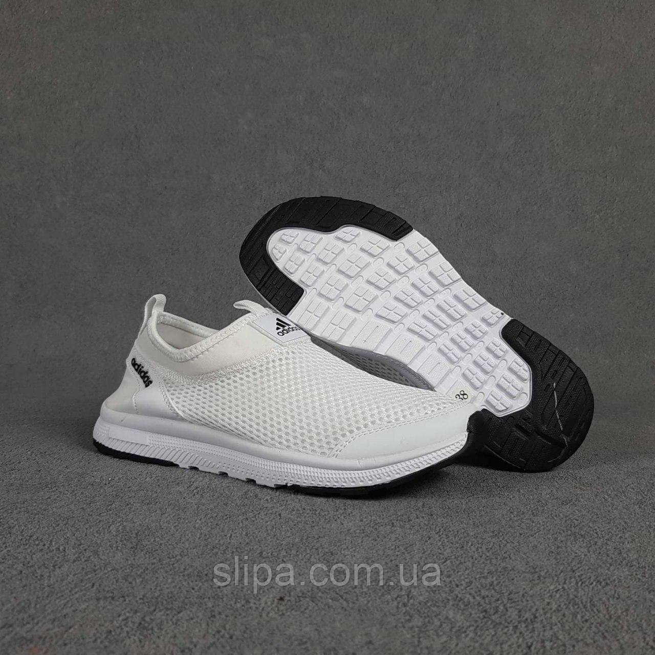 Текстильные летние женские кроссовки Adidas белые   лёгкая сетка + пена   очень лёгкие