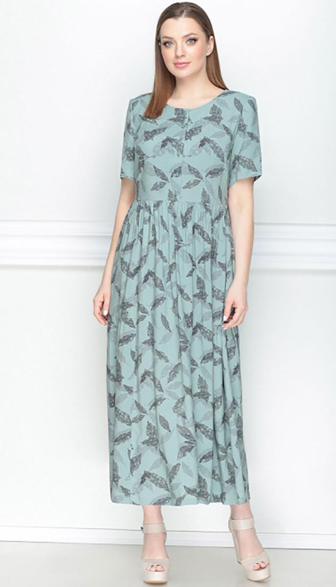 Платье LeNata-11025 белорусский трикотаж, рисунок на зелёном, 54