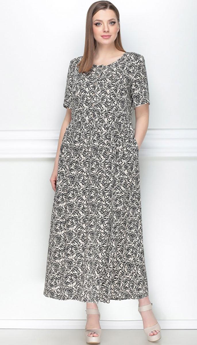 Сукня LeNata-11025 білоруський трикотаж, малюнок на бежевому, 50