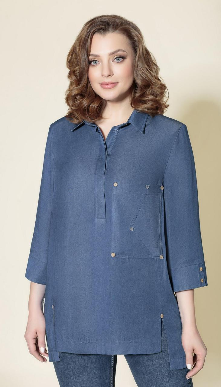 Блузка Дали-5409 белорусский трикотаж, синий, 64