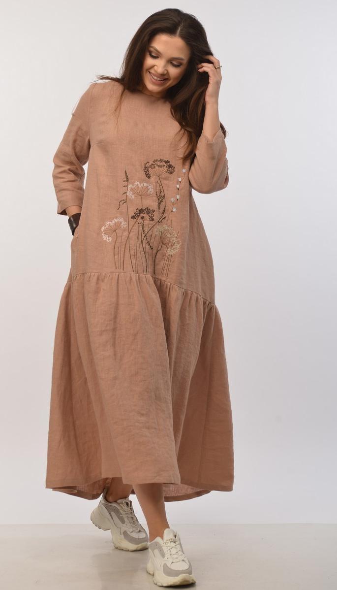 Платье Mali-421-015 белорусский трикотаж, коньячный, 48