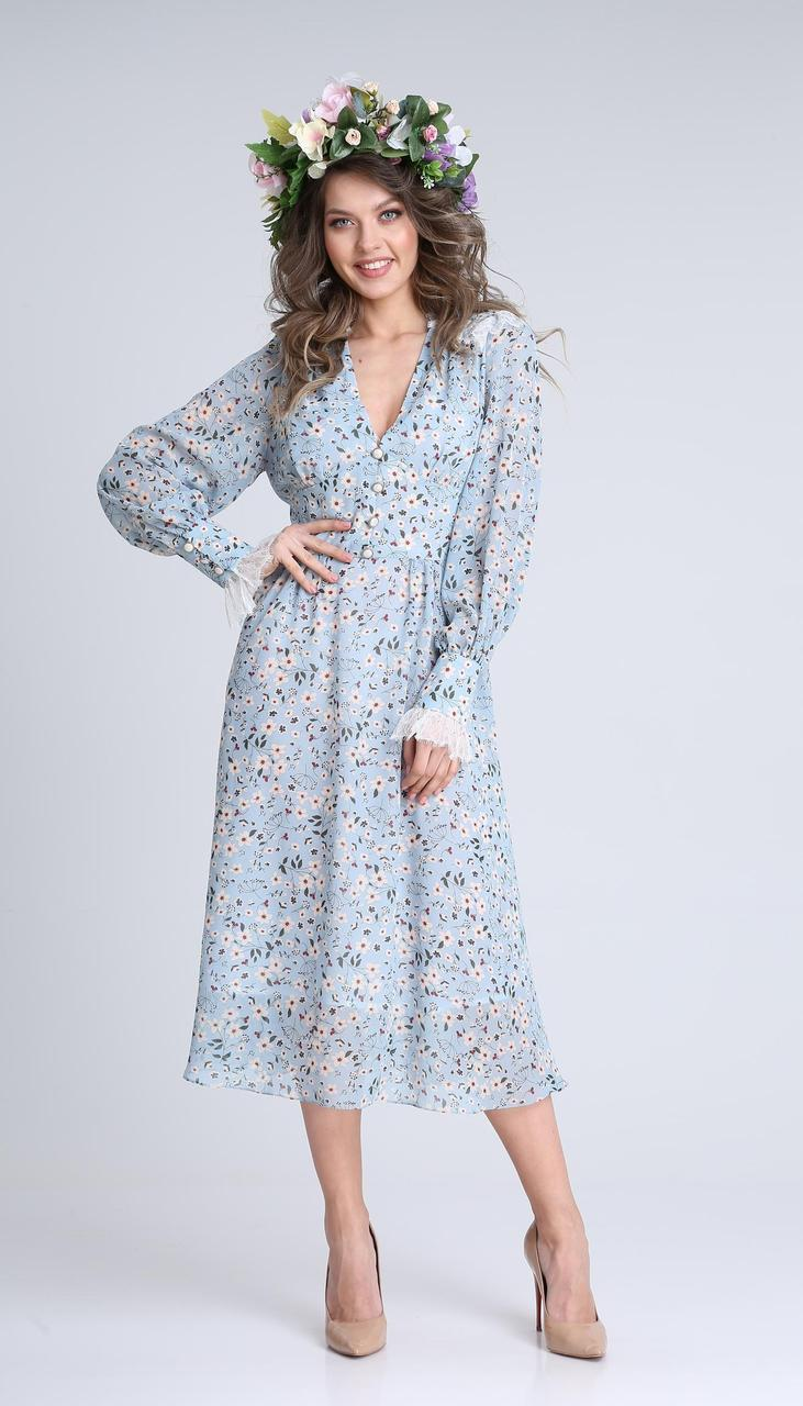 Сукня Sandyna-13932 білоруський трикотаж, небесно-блакитний, 44