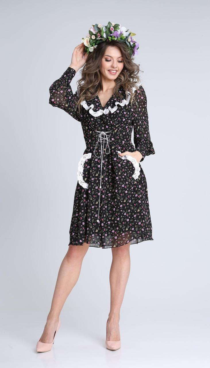 Платье Sandyna-13935 белорусский трикотаж, мультиколор, 44
