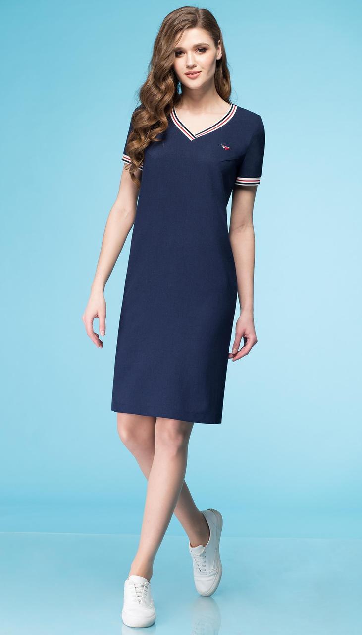 Платье Линия-Л-Б-1638/1 белорусский трикотаж, синий, 48