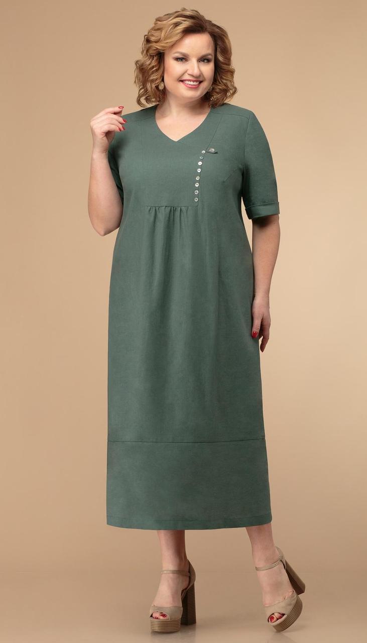 Платье Линия-Л-Б-1791/1 белорусский трикотаж, зеленый, 60
