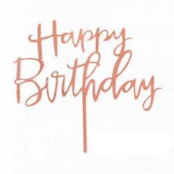 "Топпер для торта дзеркальний ""Happy birthday"" (рожеве золото)"