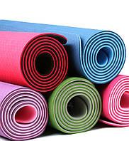 Двухслойный коврик для йоги и фитнеса TPE TC спортивный каремат для тренировок и для занятий спортом |